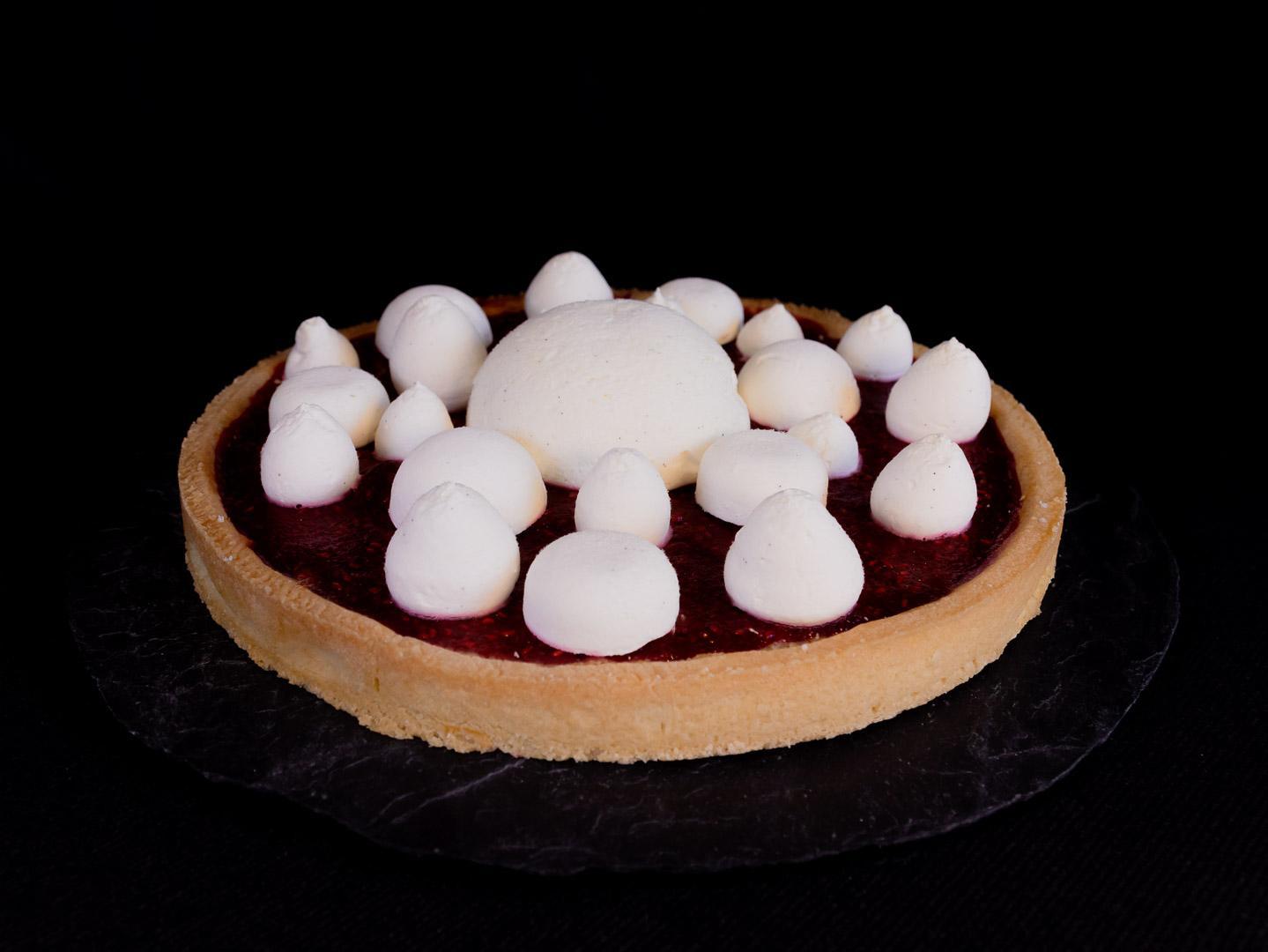 Tarte blanche noisette framboise coeur gourmand